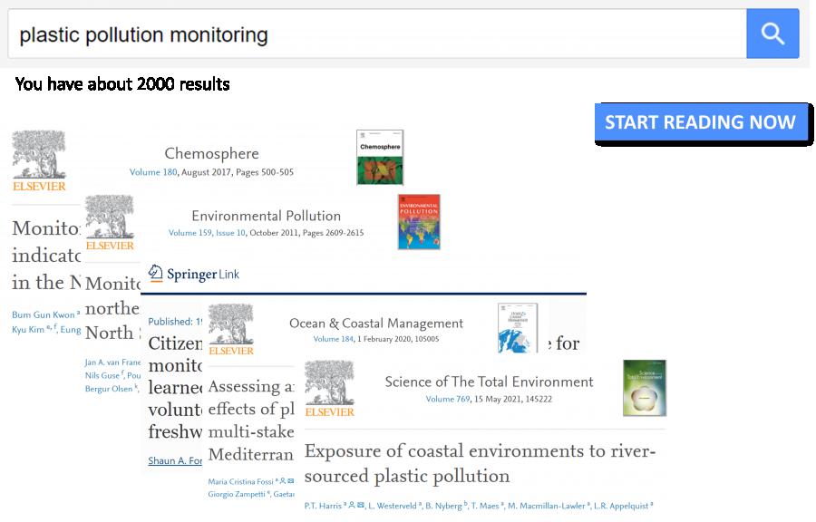 screenshot of several paper titles on Elsevier (science portal)