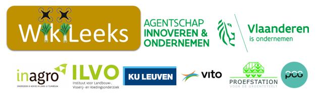 Logo's van WikiLeeks, Agentschap Innoveren & Ondernemen, Inagro, Ilvo, Ku Leuven, Vito, PSKW en PCG