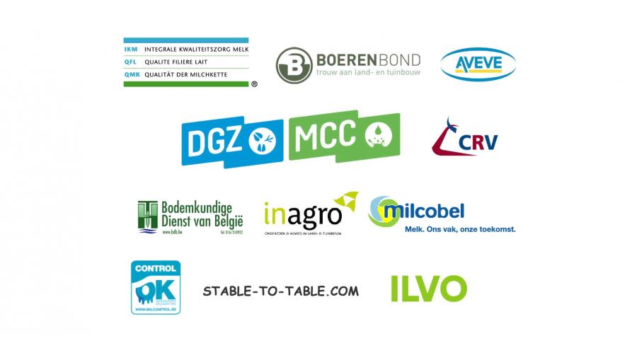 Logo's van ILVO, IKM, Boerenbond, AVEVE, Bodemkundige Dienst van België, Inagro, Milcobel, DGZ MCC, CRV, stable-to-table.be, www.milkcontrol.be
