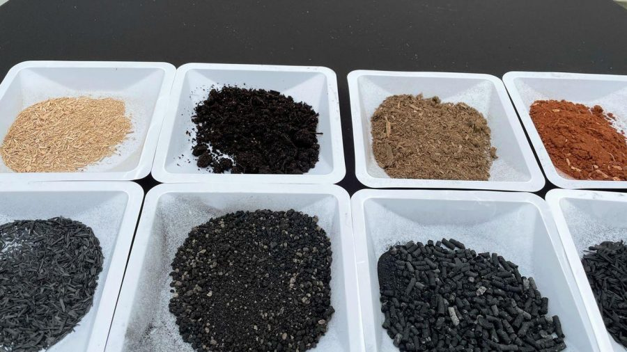 different colors of biochar in a tray