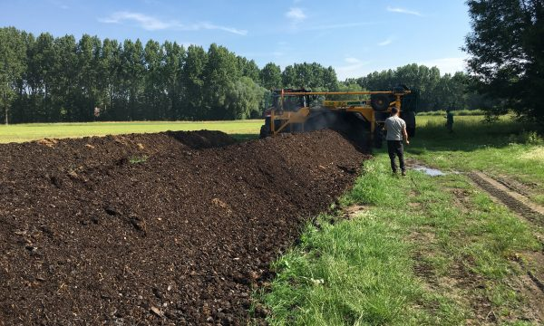compost in a long row
