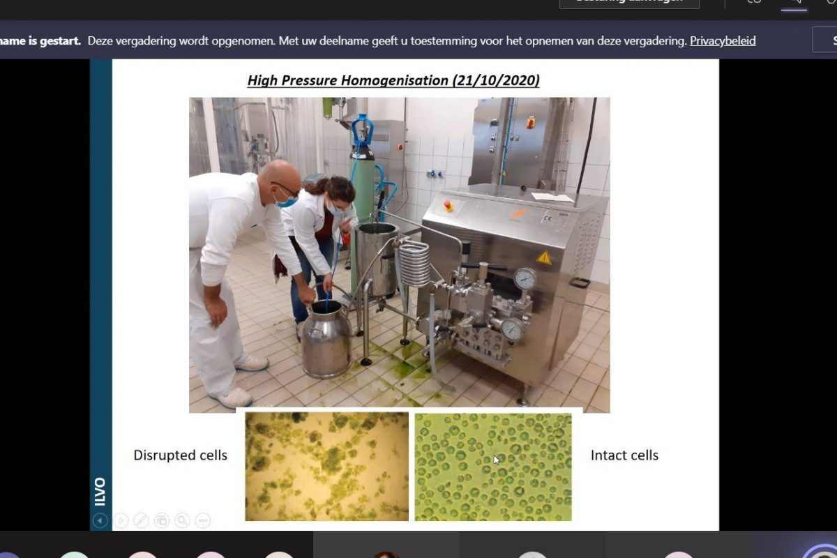 screenshot during meeting, slide with several photos of high pressure homogenisation photos
