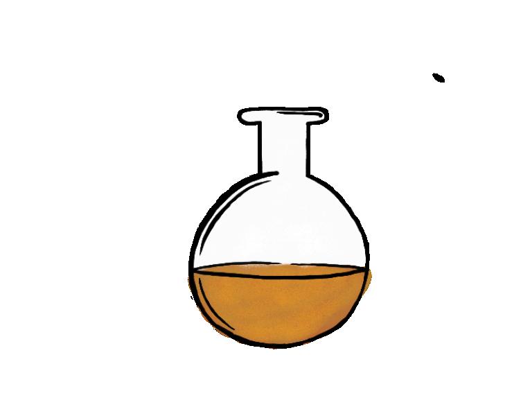 drawing of lab bottle with orange liquid