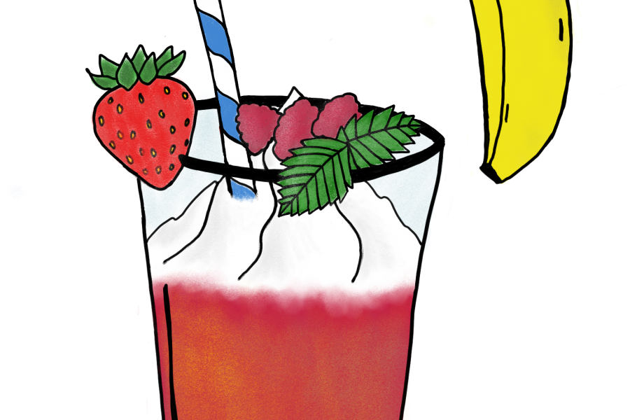 drawing of red smoothie with whipped cream and banana