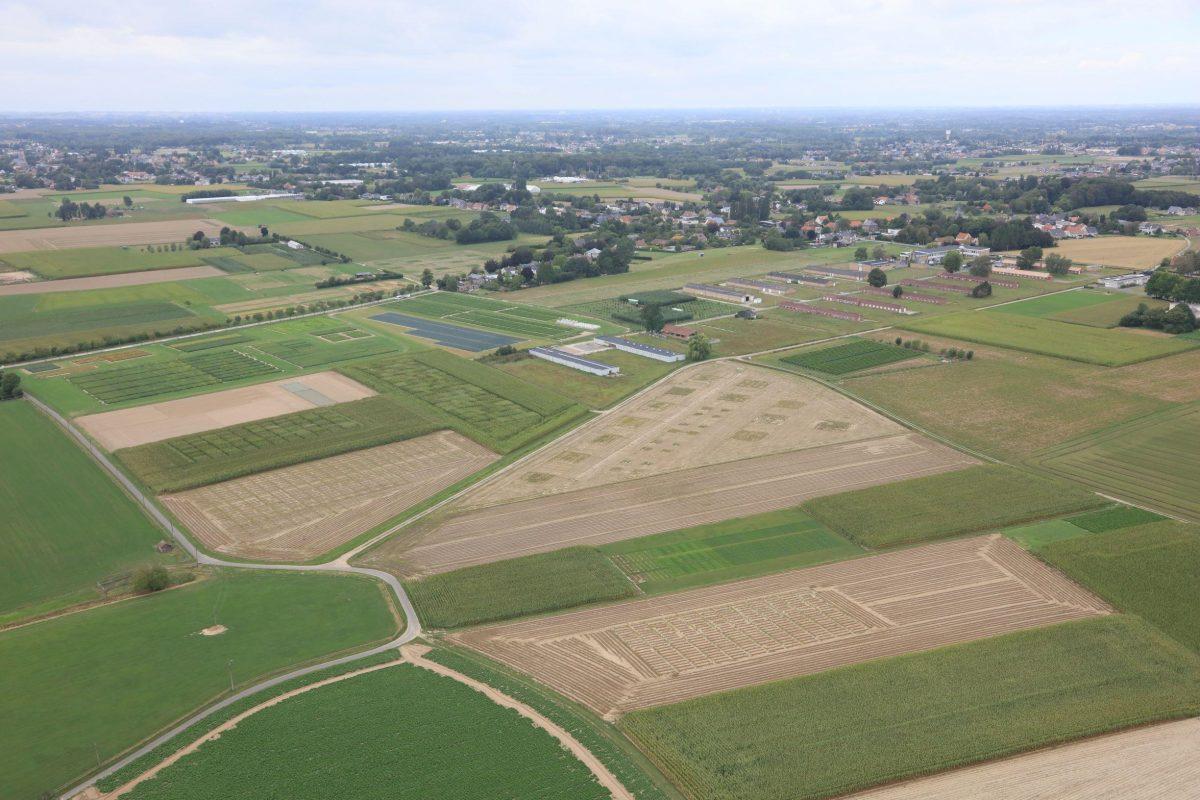 Luchtfoto van de ILVO proefvelden in Melle en Merelbeke.