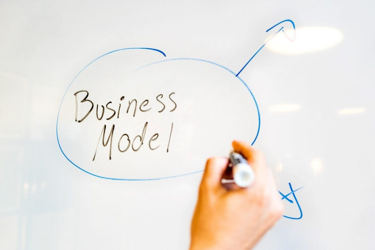 "Words ""Business model"" on a whiteboard"