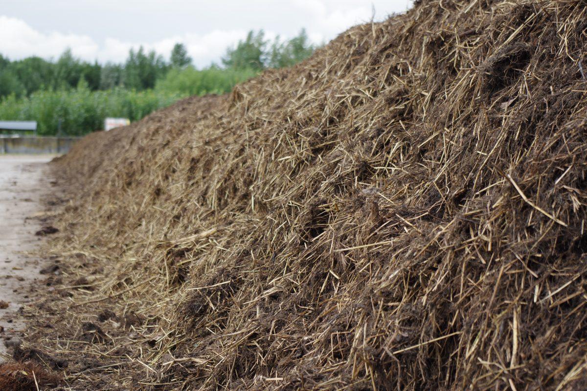 Compost ligt te rijpen op de ILVO compostsite