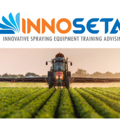 Innoseta logo with tractor spraying a crop underneath the logo