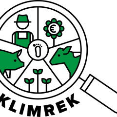 Logo for KLIMREK - cow, pig, farmer, plants within a magnifying glass