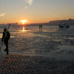 Belgian coast at sunset