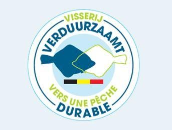 logo of Visserij Verduurzaamt, with the colors of the Belgian flag and 2 stylized plaice