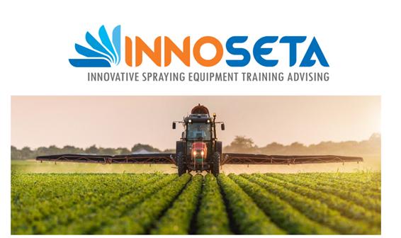 Innoseta logo with tractor spraying a crop underneath the logo