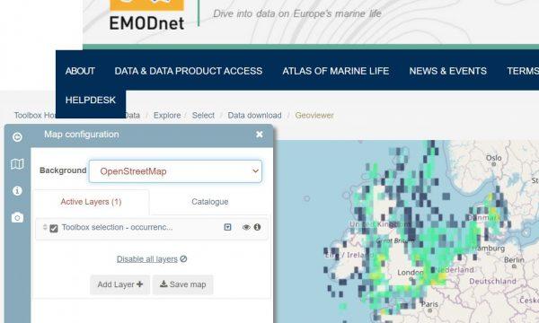 screenshot van het EMODNET portaal voor biologie