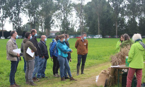 Deelnemers luisteren naar de experten tijdens de demodag, hier bij het standje over bakgranen