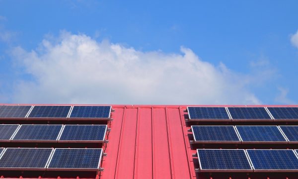 Solar panels on red roof