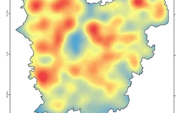 Kaart van Oost-Vlaanderen met densiteitsplot met hergebruik van agrarische sites