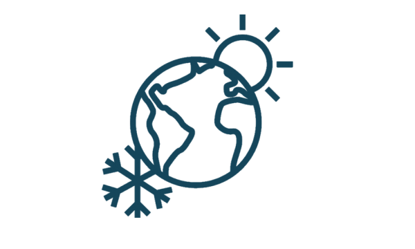 icon of planet earth with symbols of sun and ice, representing the climate