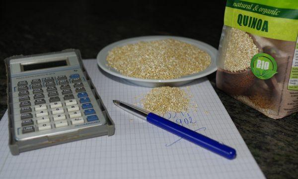 rekenmachine, ruitjespapier, berekening van rendabiliteit quinoa, bord en zak met quinoa