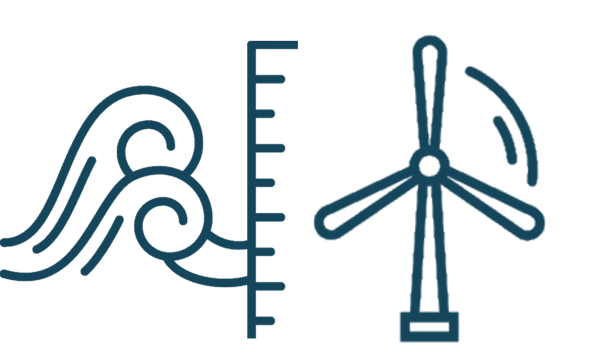 combined icon of waves and win turbine