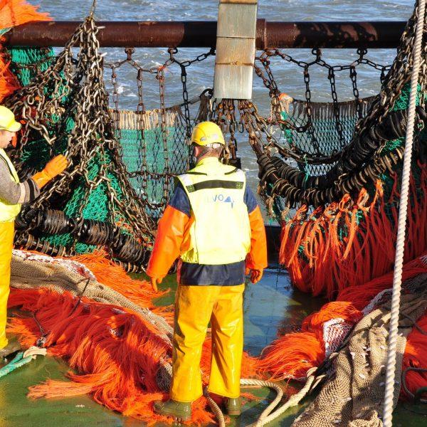 Twee mannen in fluohesjes en met helm op de kade bij een schip met netten
