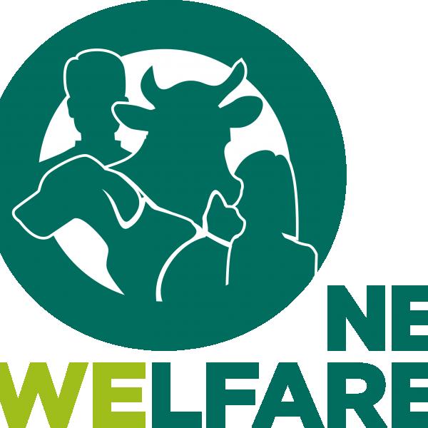 logo van OneWelfare, met silhouetten van een mens, koe, hond en kat