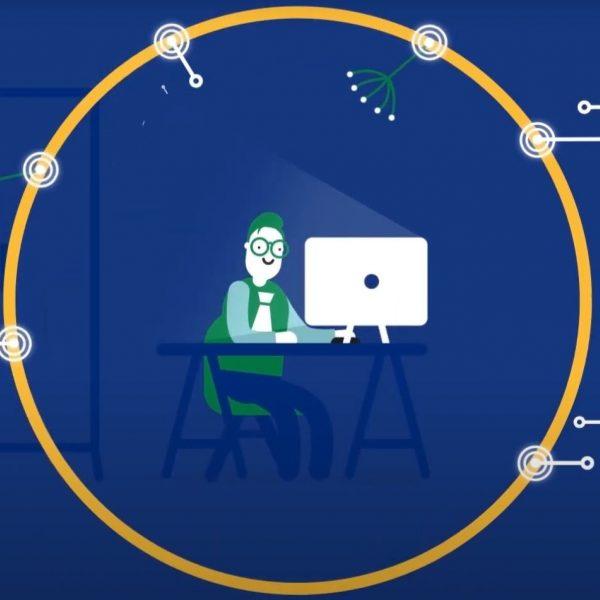beeld uit een animatievideo van DjustConnect. Je ziet een man achter een computer met een cirkel errond, op de cirkel beweegt data van andere partijen.