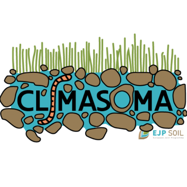 logo CLIMASOMA project, the name CLIMASOMA with soil and an earth worm around it, grass on top