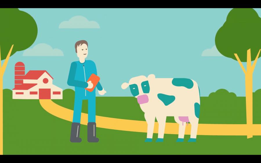 Animatie van boer en koe met op de achtergrond een weg naar een boerderij.