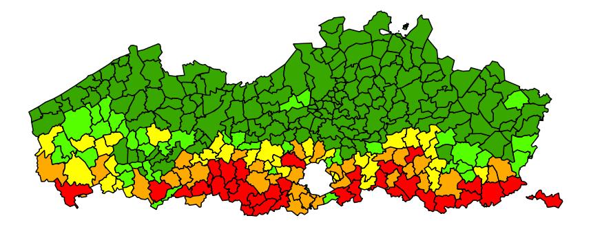 Erosiegevoeligheidskaart van de Vlaamse gemeenten (Bron: DOV)