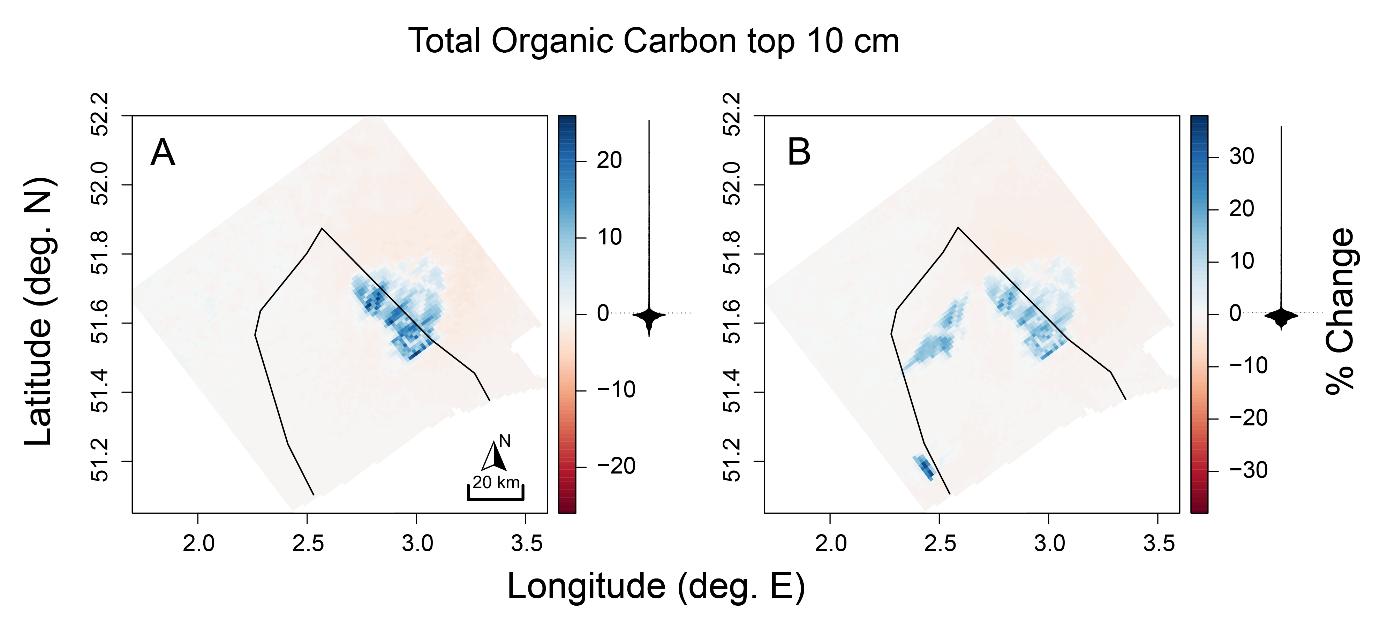 Gemodelleerde veranderingen (%) in de totale hoeveelheid organische koolstof