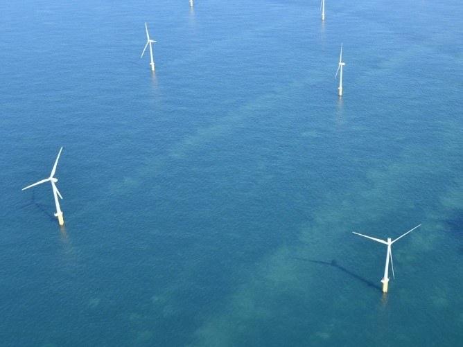 Luchtzicht op een Belgisch offshore windpark